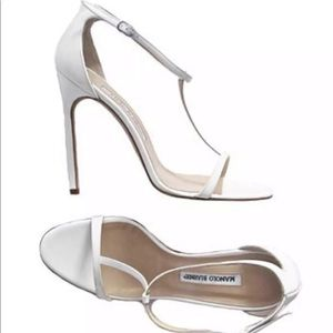 Manolo Blahnik White Patent Leather T Strap Pumps
